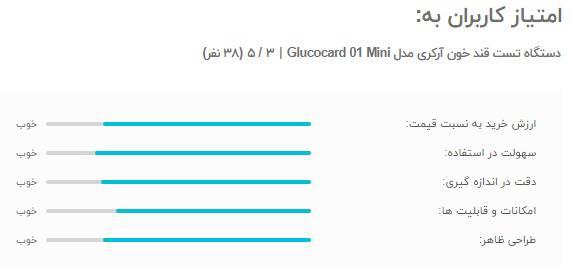 امتیاز و نظرات کاربران به دستگاه تست قند خون آرکری مدل Glucocard 01 Mini