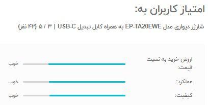 امتیاز و نظرات کاربران به کابل شارژر دیواری مدل EP-TA20EWE