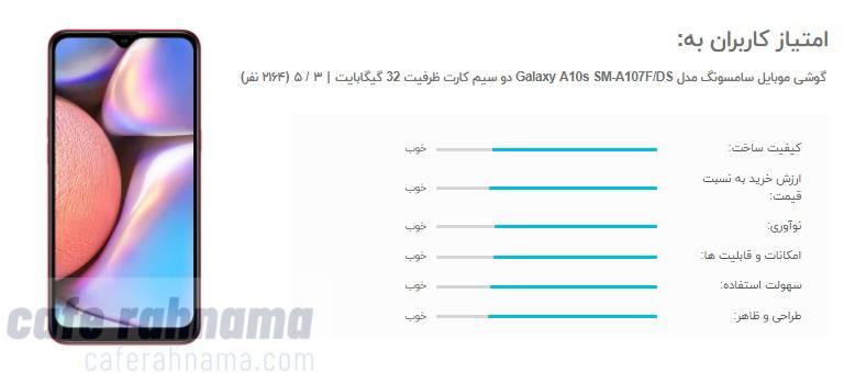 امتیاز و نظرات کاربران راجب گوشی a10s